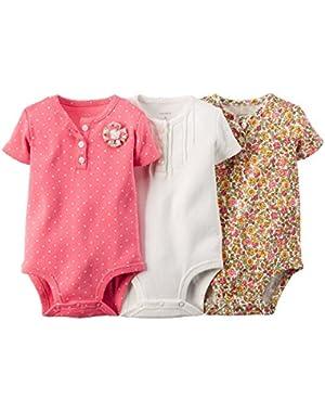 Baby Girl's 3Pk S/S Henley Bodysuits