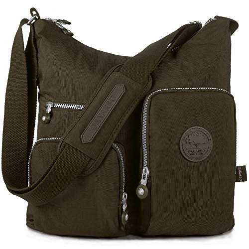 Oakarbo Crossbody Bag Nylon Multi-Pocket Travel Shoulder Bag (1204 Brown, Large) by Oakarbo
