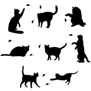 Removable Switch Sticker, 8 Pcs Cute Black Cat and Mouse Cartoon Wall Sticker, Light Switch Decor Decals, Family DIY Decor Art Stickers Home Decor Wall Art for Kids Bedroom Office Home Decoration