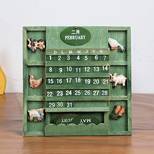 (LANGUGU Shabby Chic Vintage Creative Mediterranean Style Wallmount Wooden Adjustable Cubes Calendar Perpetual Desk Calendar Home Office Furnishing DIY Yearly Planner Calendar Shops Ornaments (Green))