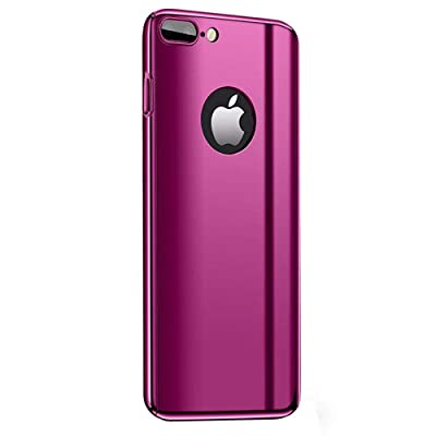 Fantasydao Compatible/Remplacement for iPhone 7 Plus, iPhone 8 Plus Case+Screen Protector 2 in 1 Plating Hard PC Mirror 360° Full Body Protection Ultra Thin Cover for iPhone 7 Plus/8 Plus (Pink)