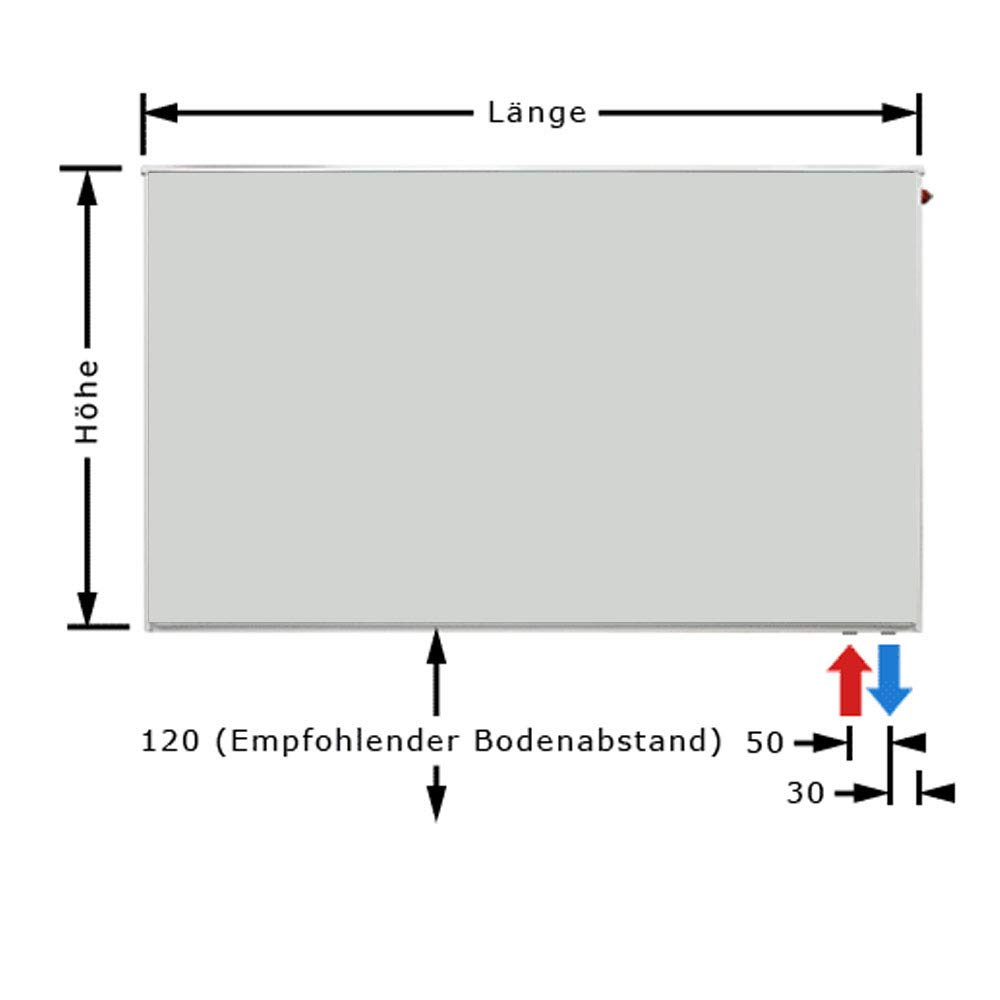 BL: 400 mm Buderus Logatrend Ventil-Flachheizk/örper VC-Plan Typ 11 BH 400 vers Halter L/ängen