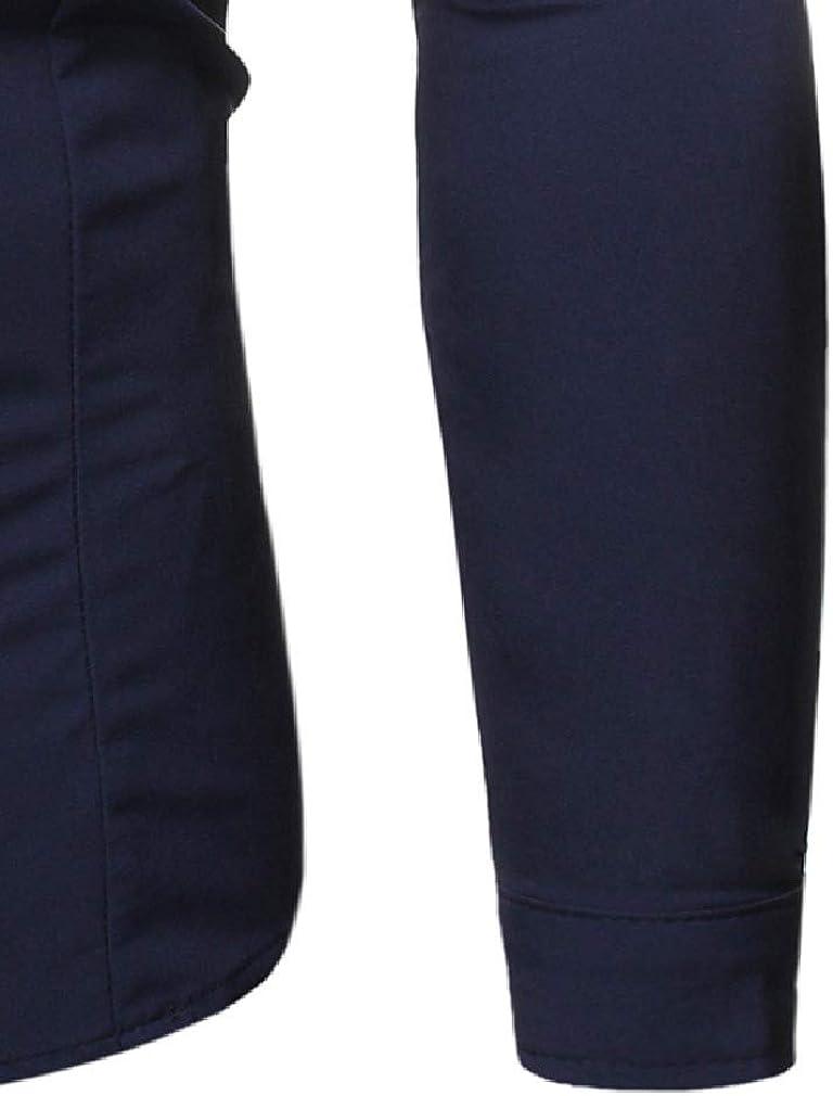Mfasica Mens Long Sleeve Gentleman Blazer Pure Color Slim Fit Shirt