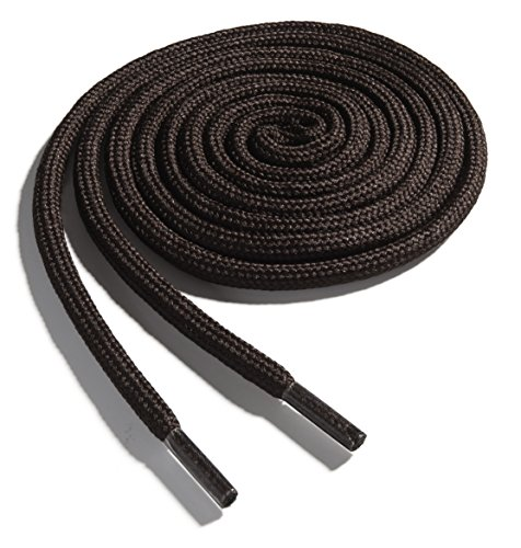 OrthoStep Thick Round Athletic 54 inch Dark Brown Shoe Laces - Thick Shoe and Hiking Boot Laces 2 Pair Pack