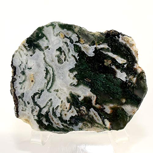 255g Green White Moss Agate Slab Natural Druzy Mineral Slice Sparkling Crystal One Side Polished Gemstone - India ()