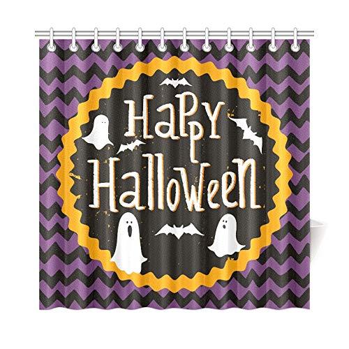 QYUESHANG Home Decor Bath Curtain Cute Halloween Invitation
