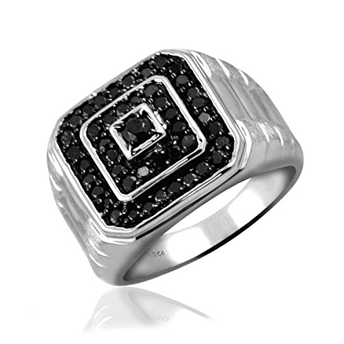 Jewelexcess 1.00 Carat T.W. Black Diamonds Sterling Silver Square Shape Men's Ring ()
