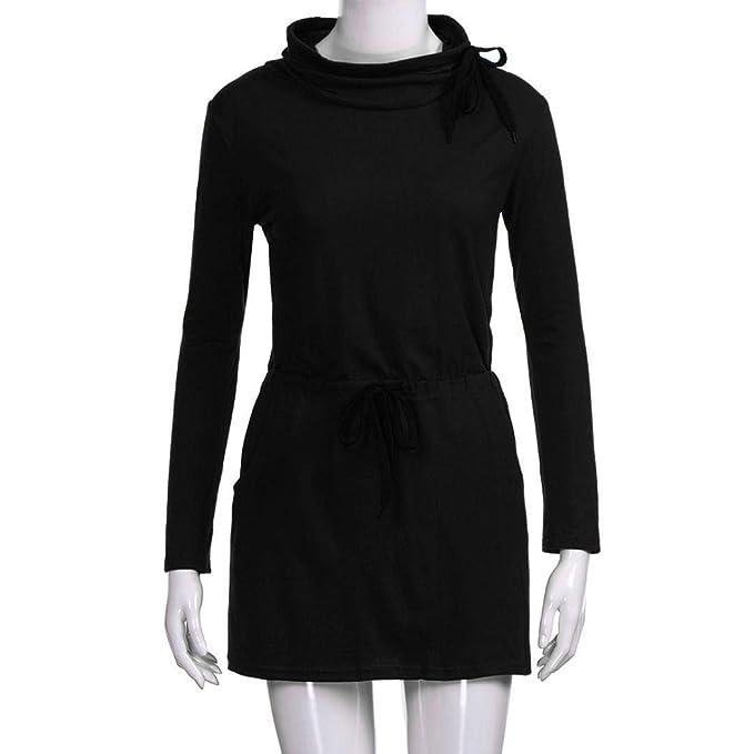 ZHRUI Mini Vestido de Noche Casual con Cuello Alto y con Cordones en el Bolsillo de la Cintura con Cordones (Color : Negro, tamaño : Medium): Amazon.es: ...