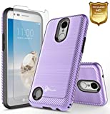 LG Risio 2 Case, LG Rebel 2 LTE Case, NageBee [Carbon Fiber Brushed] [Heavy Duty] Defender [Dual Layer] with [HD Screen Protector] For LG Risio 2 / LG Rebel 2 LTE (Purple)