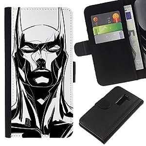 For LG G2 D800 Case , Bat Long Ears Black White Art - la tarjeta de Crédito Slots PU Funda de cuero Monedero caso cubierta de piel