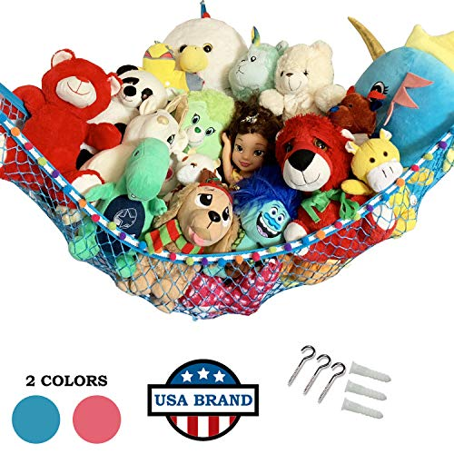 HOME4 Stuffed Animal Toy Storage Hammock Net with Fun Color Ball Rag Tie - Organize Small, Large, Or Giant Stuffed Animals (Blue)