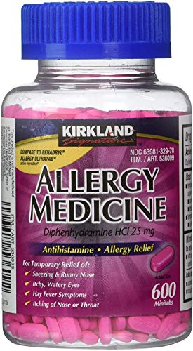 Diphenhydramine HCI 25 Mg – Kirkland Brand – Allergy Medicine and AntihistamineCompare to Active Ingredient of Benadryl® Allergy Generic – 600 Count Personal Healthcare/Health Care