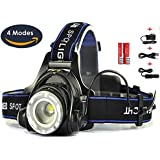 Best Super Bright Headlamp Light | Rechargeable Head Torch | Hands Free Head Flashlight LED Lamp with Battery | Water Resistant Drop Resistant Head Lamp Spotlight for Camping Fishing Running Cycling