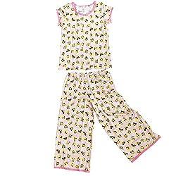 Esme Youth Girl's Short Sleeve Lounge Pant Leggings Pajama Set S Paisley