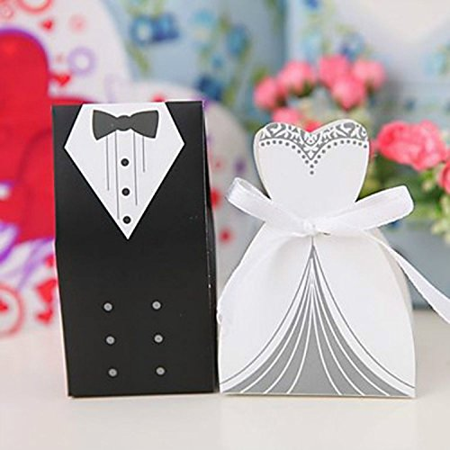 cnomg 100pcs party wedding favor dress tuxedo bride and wholesale candy favor box