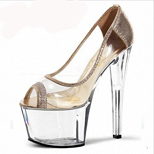 Printemps et été imperméables transparents Sandales Superfine cristal talons hauts des femmes , gold , 42