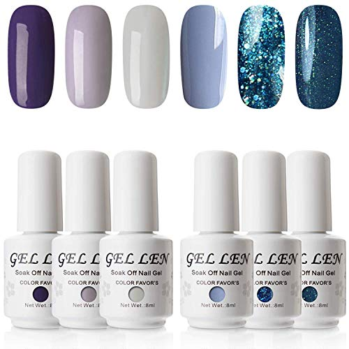 (Gellen Gel Nail Polish Set - Purples Teals Series, Pure shimmering Glitters Trendy Nail Art 6 Mixed Colors Kit)