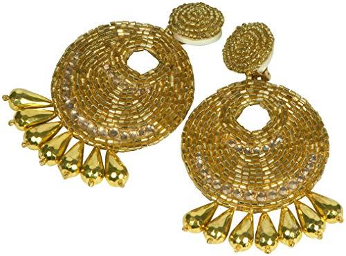Kenneth Jay Lane Jewelry Gold Metallic Seed Bead Large Gypsy Disc Beaded Clip Earring - Lane Kjl Coral