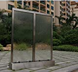 72'' X 48'' Standing Waterfall, Twin Clear Glass Panels ,Stainless Steel Frame by JERSEY HOME DECOR