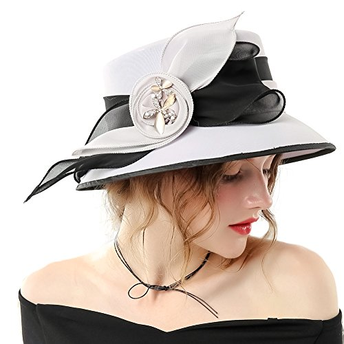 June's Young Women Hat Formal Dress Hat Chiffon Fabric Feather Two Tone Colors (Grey Black-1)