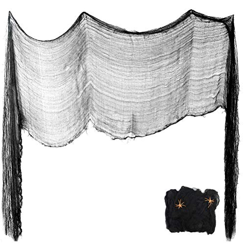 Masonicbuy 30¡±x197¡± Halloween Black Creepy Cloth, 20g Black Stretch Spider Web for Haunted Houses Doorways Entryways Outdoors Windows Cover Themed Party Spooky Decor Supplies -