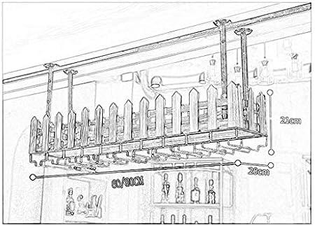 ZFF Wine rack Vinoteca Vitrina, Barra Bar mostrador de Hierro Forjado Estante Techo Copa de Vino Colgante Colgante Boca Abajo botellero 60 / 80cm (Tamaño : 60 * 20 * 21CM)