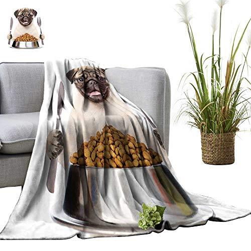 YOYI Digital Printing Blanket Pug Bowl Dry Dog Foo hs a Knife Fork Better Deeper Sleep 35