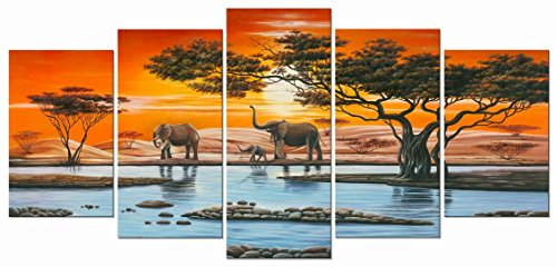 ... Panel Framed African Landscape Giclee Canvas Prints Artwork Animals  Paintings Reproduction Pictures On Canvas Wall Art For Living Room Home  Decorations
