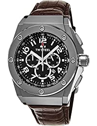 TW Steel CEO Tech Round Stainless Steel Watch - Black Dial Date 24-hour TW Steel Watch Mens - Brown Leather Band 44mm Chronograph Watch CE4013