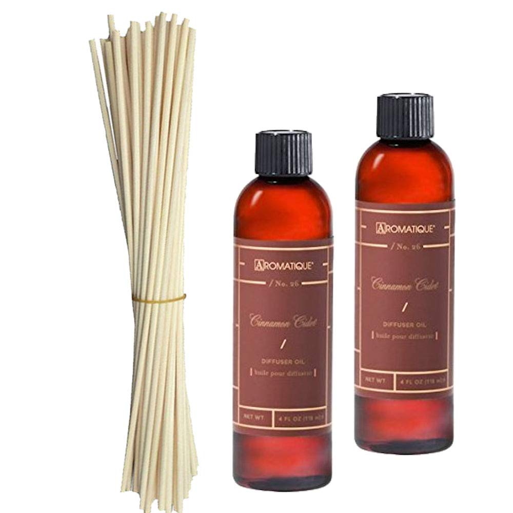 Two (2) Aromatique 4 Ounce Cinnamon Cider Reed Diffuser Refills w/Set of Eighteen 10'' Replacement Reeds by Aromatique