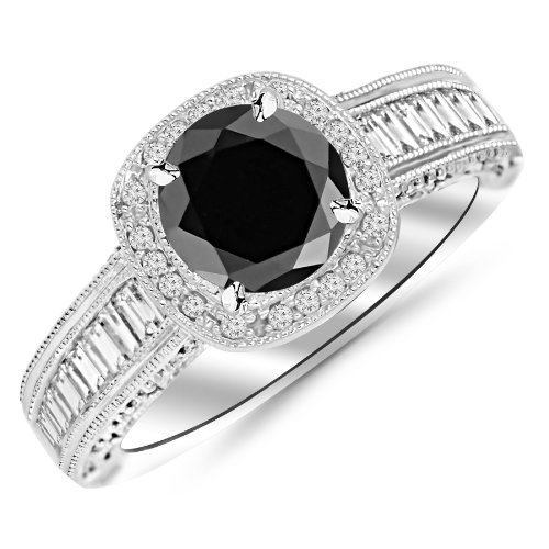 1.7 Carat 14K White Gold Designer Baguette and Round Cushion Shape Halo Diamond Engagement Ring with a 1 Carat Black Diamond Center (Heirloom Quality)