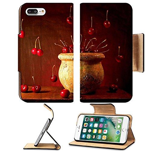 Luxlady Premium Apple iPhone 7 Plus Flip Pu Leather Wallet Case iPhone7 Plus 577556 Flying Cherries