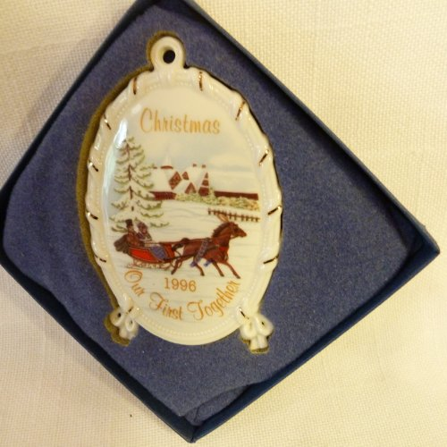 """Wedgwood White Jasper With Gold """"First Christmas"""" 1996 Collectible Christmas Ornament in Box"""