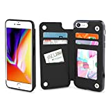 Gear Beast iPhone 8 / 7 Wallet Case, Top View Flip Folio For iPhone 8/7 Slim Protective PU Leather Case 4 Slot Card Holder including ID Holder for Men & Women, Free Screen Protector-Midnight Black