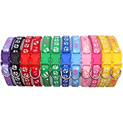 "YOY 12 pcs/Set Soft Nylon Puppy Whelping ID Collars - Adjustable Reusable Washable Baby Dog ID Bands Pet Identification for Breeders, Neck 8"" - 13"""