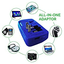 Multiple USB Charger | AC USB Power Adapter By IsmarTech | AC Universal Adapter | International Adapter | Suitable For Apple and Android Phones and Tablets (Blue)