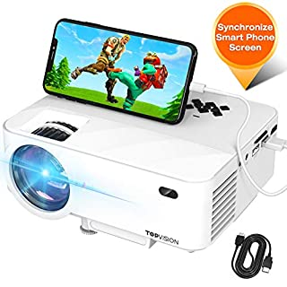 """Mini Projector, TOPVISION Projector with Synchronize Smart Phone Screen, Upgrade to 3600L, 1080P Supported, 176"""" Display, 50,000 Hours Led, Compatible with Fire Stick,HDMI,VGA,USB,TV,Box,Laptop,DVD"""
