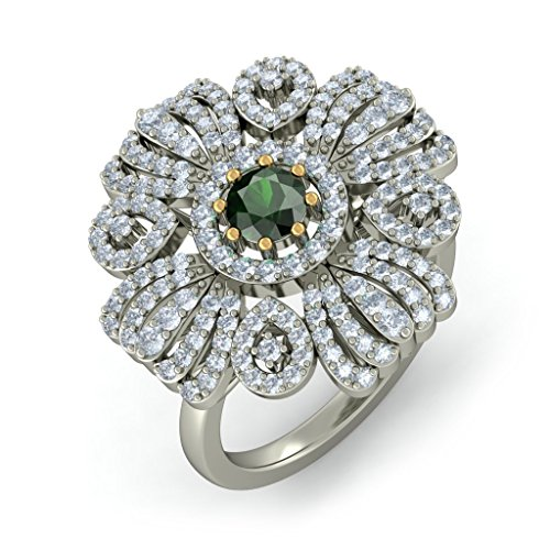 18 K Or Blanc, - CT TW Diamant Blanc (IJ | SI) Tourmaline verte et diamant Bague