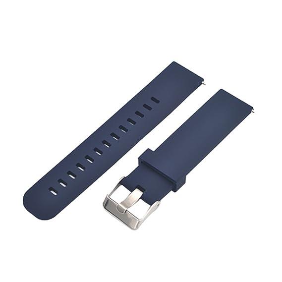 Azules Pulseras de Reloj de Silicio Oscuras para de 20MM con Hebilla de Acero Inoxidable para los Hombres: Amazon.es: Relojes