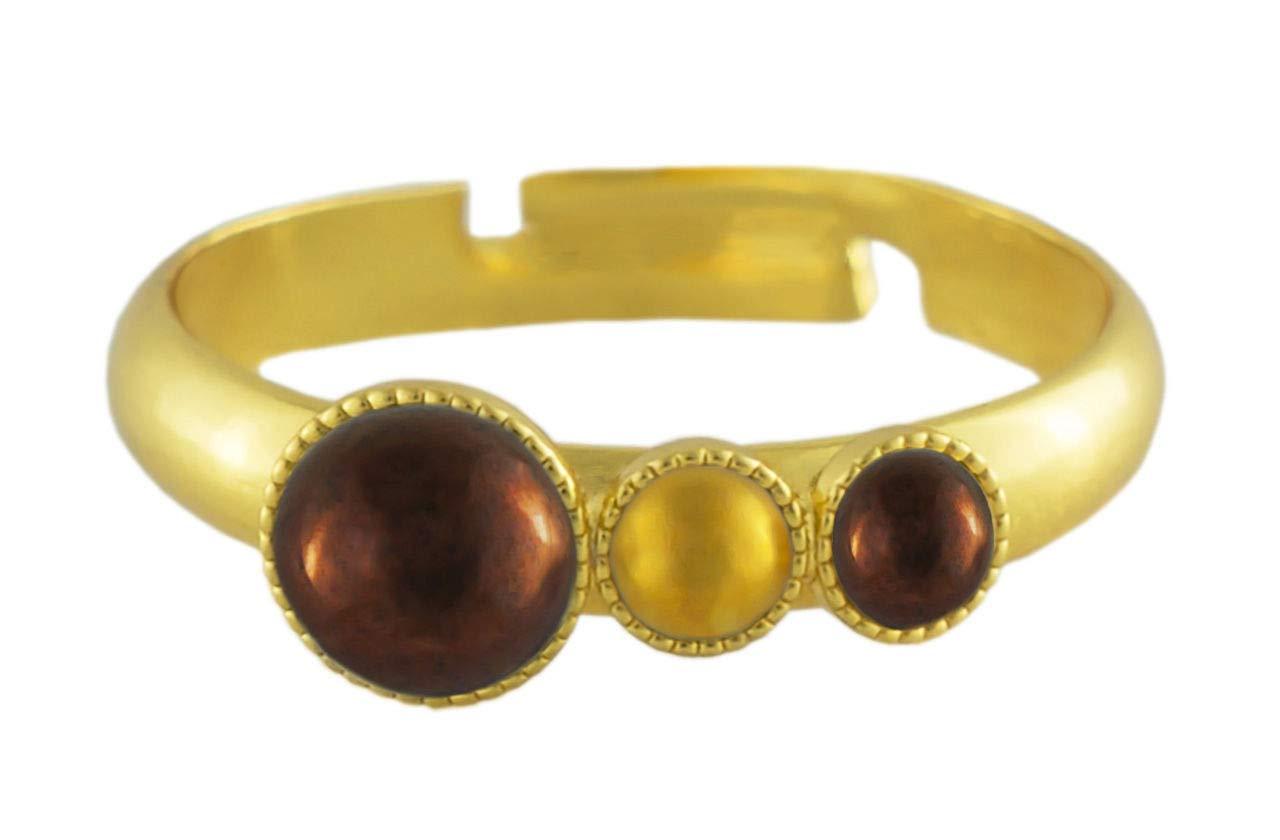 24K Gold Plated Minimalist Ring Size 5mm x 3mm Metallic Shiny Bronze Brown Luster Round Czech Glass Stone Handmade BohemStyle