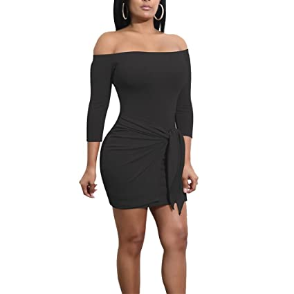 16d238583f9a Korowa Women Ladies Off Shoulder Pure Color Midi Dress 3/4 Sleeve Bodycon  Above Knee