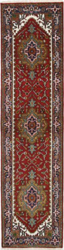 Ecarpetgallery Hand-Knotted Serapi Heritage Geometric 2' x 9' Red 100% Wool Runner from eCarpet Gallery
