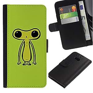KingStore / Leather Etui en cuir / HTC One M8 / Ufo extraterrestre Ser verde lindo
