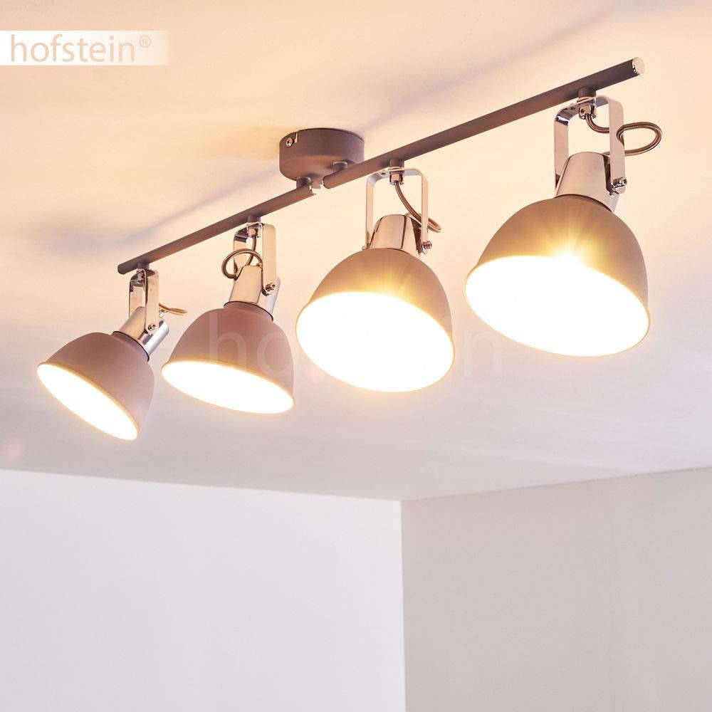 Lustro lampada da soffitto con spot regolabili Barra spot con faretti inclinabili per interni con attacco 4 x E14 Plafoniera Polmak in metallo di colore grigio//bianco