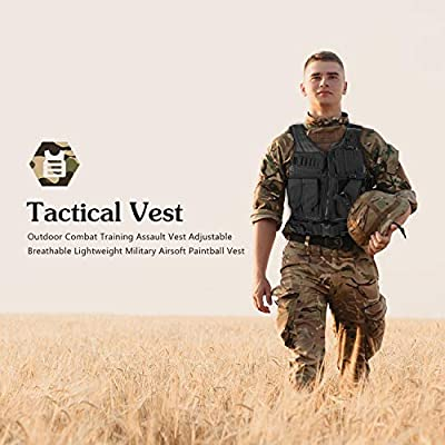 ProCase Tactical Vest for Man, Outdoor Combat Training Assault Vest Adjustable Breathable Lightweight Military Airsoft Paintball Vest -Black, 600D Polyester