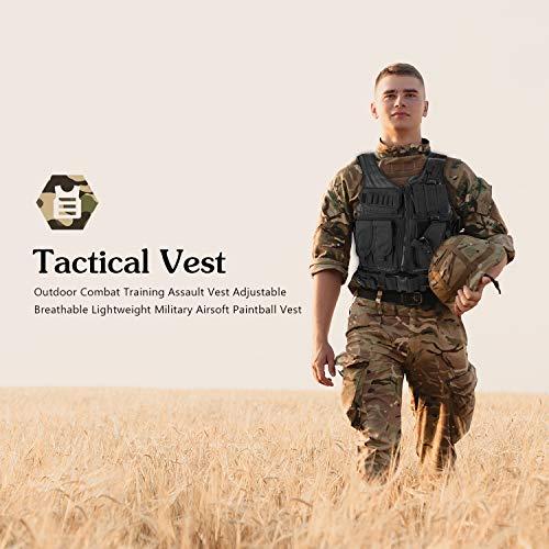 ProCase Gilet Tactique Militaire Mesh, Veste de Combat avec Ceinture pour Airsoft Jeu CS Militaire-Noir 2