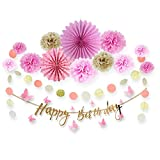 Easy Joy Pink Gold Birthday Decorations Kit Happy Birthday Banner Pom Poms Flowers Kit Tissue Paper Fans for 1st Birthday Girl Baby Shower Decoration