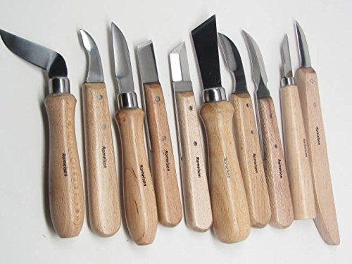 10 Wood Chip Wood Carving Knives with 10 Pocket Leather Roll by UJ Ramelson Co (Image #1)