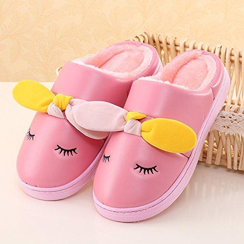 LaxBa Femmes Hommes chauds dhiver Chaussons peluche antiglisse intérieur Cotton-Padded PinkChildren 24 Chaussures Slipper (longueur recommandée 20cm sur 6 à 8 ans