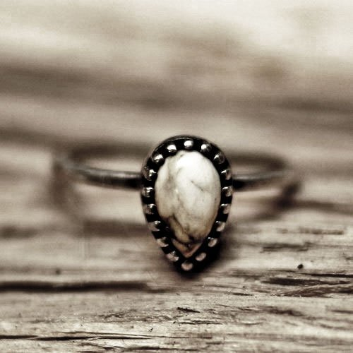 - Simple drop shape white buffalo turquoise silver ring